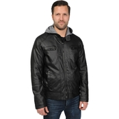 Chaps Faux Leather Jacket with Hood
