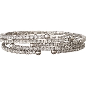 Nine West Silvertone Crystal Coil Bracelet Set of 3