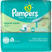 Pampers Natural Clean Wipes Travel Pack, 192 Count