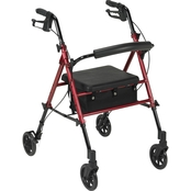 Drive Medical Adjustable Height Rollator with 6 in. Wheels, Red