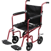 Drive Medical Flyweight Lightweight Transport Wheelchair with Removable Wheels