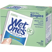 Wet Ones Sensitive Skin Hand & Face Wipe Singles, 24 ea.