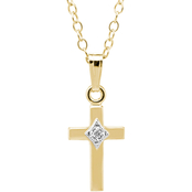 Kids 14K Gold Filled Two Tone Diamond Accent Cross Pendant