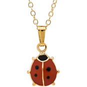 Kids 14K Yellow Gold Filled Red and Black Epoxy Ladybug Pendant