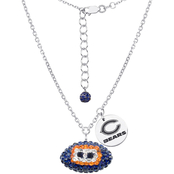 Sterling Silver NFL Chicago Bears Crystal Football Necklace