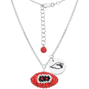 Sterling Silver NFL Arizona Cardinals Crystal Football Necklace