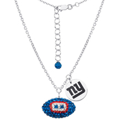 Sterling Silver NFL New York Giants Crystal Football Necklace
