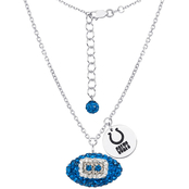 Sterling Silver NFL Indianapolis Colts Crystal Football Necklace