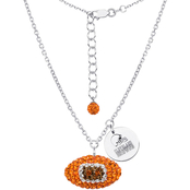 Sterling Silver NFL Cleveland Browns Crystal Football Necklace