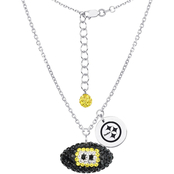 Sterling Silver NFL Pittsburgh Steelers Crystal Football Necklace