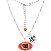 Sterling Silver NFL Cincinnati Bengals Crystal Football Necklace