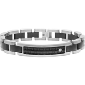 Stainless Steel and Leather Diamond Accent Bracelet