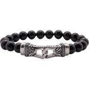 Black Agate Bead Bracelet with Stainless Steel Clasp