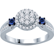 10K White Gold 3/8 CTW Diamond and Sapphire Engagement Ring