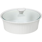 Corningware French White III 2.5 Qt. Round Casserole with Glass Cover