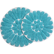 Chesapeake Merchandising Bursting Flower Round Bath Rug 2 pc. Set