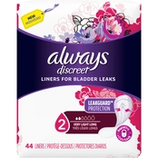 Always Discreet Very Light Long Incontinence Liners, 44 ct.