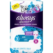 Always Discreet Incontinence Pads, Light Absorbency, 30 ct.