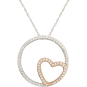 10K Rose Gold 3/8 CTW Diamond Circle with Heart Pendant