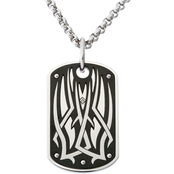 Black & Blue Steel And Diamond Two-Tone Tribal Dog Tag