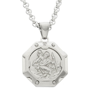 Black & Blue Steel And Diamond 3D Tribal Octagon St. Christopher Medal