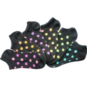 K. Bell Black Neon Dots No Show Socks 6 Pk.