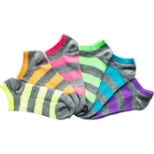 K. Bell Neon Stripe No Show Socks 6 Pk.