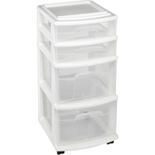 Homz Plastic Cart with 4 Drawers