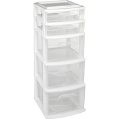 Homz Plastic Cart with 5 Drawers
