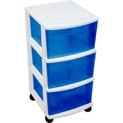 Homz Plastic Cart with 3 Drawers