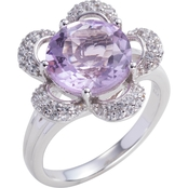 Sterling Silver Lavender Amethyst and White Topaz Flower Ring