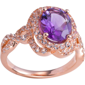14K Rose Gold Over Sterling Silver Amethyst and White Topaz Twist Ring