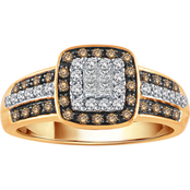 10K Yellow Gold 1/2 CTW White and Champagne Diamond Ring