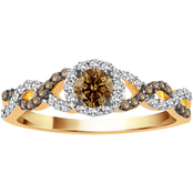 10K Yellow Gold 1/2 CTW Champagne and White Diamond Ring