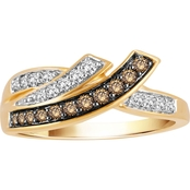 10K Yellow Gold 3/8 CTW Champagne and White Diamond Ring