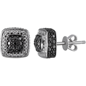 Sterling Silver 1/10 CTW Enhanced Black And White Diamond Earrings