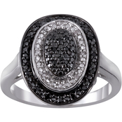 Sterling Silver 1/10 CTW Enhanced Black And White Diamond Ring, Size 7