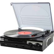 Jensen 3 Speed Stereo Turntable with Built In Speakers and Speed Adjustment