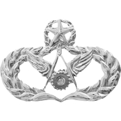 Air Force Master Civil Engineer Badge with Piercing, Brite, Mid-Size