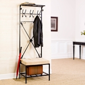 SEI Entryway Storage Rack With Bench Seat