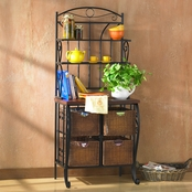 SEI Iron/Wicker Baker's Rack
