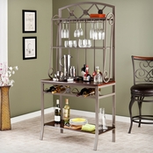 SEI Decorative Baker's Rack With Wine Storage