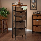 SEI Iron/Wicker 5 Drawer Unit