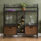 SEI Celtic Baker's Rack With Wine Storage