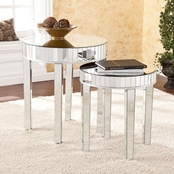 SEI Round Mirrored Nesting Table 2 Pc. Set