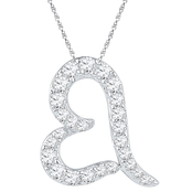 10K White Gold 1/7 CTW Diamond Heart Pendant