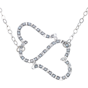 Diamond Fascination Platinum over Sterling Silver Diamond Accent Heart Necklace