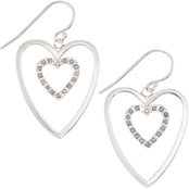 Diamond Fascination Platinum over Sterling Silver Diamond Accent Heart Earrings