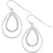 Diamond Fascination Platinum over Sterling Silver Diamond Accent Teardrop Earrings