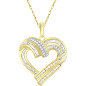 10K Gold 1/2 CTW Diamond Double Row Heart Pendant